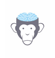 Monkey brain Blue Animal Head Logo for Res vector image vector image