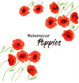 nature background with a red watercolor poppy vector image vector image
