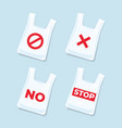 no plastic bags signs and icons set vector image vector image