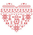 Nordic pattern in hearts shape with penguin 1 vector image vector image