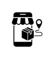 online package delivery from mobile shopping black vector image