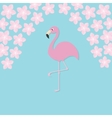 Pink flamingo on one leg Exotic tropical bird vector image vector image