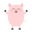 pink pig cute cartoon funny bacharacter vector image