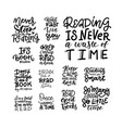 reading books - positive quote lettering set vector image