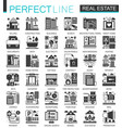 real estate black mini concept icons and vector image