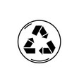 recycling black icon sign on isolated vector image