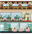restaurant interior set in flat style vector image vector image