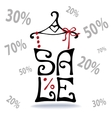 Sale letteringShirt on hangerfalling numbers vector image vector image