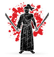 samurai warrior standing with swords cartoon vector image vector image