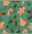 seamless pattern with christmas cakes leaves vector image