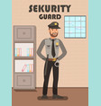 security guard in uniform flat poster template vector image vector image