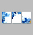 set creative cards with blue watercolor golden vector image vector image
