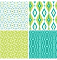 set green ikat diamond seamless patterns vector image