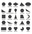 set of basic geometric shapes black image of vector image vector image