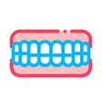set of false teeth stomatology sign icon vector image