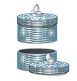 set of round wicker baskets with lids vector image