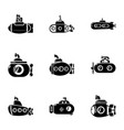 underwater boat icons set simple style vector image vector image