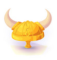 viking helmet of gold color vector image vector image