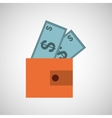 wallet money bill finance vector image