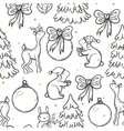 Cute Christmas seamless pattern with animals deer vector image