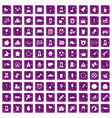 100 child center icons set grunge purple vector image vector image