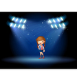 A young girl with a long hair at the stage vector image vector image
