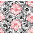 abstract floral seamless pattern hand drawn black vector image vector image