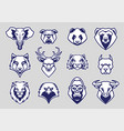 animals head mascot icons set vector image