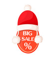 big sale oval tag with percent sign and santa hat vector image vector image