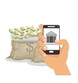 Bills smartphone businnes and financial design vector image