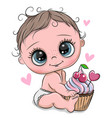 cartoon bawith cupcake on a white background vector image