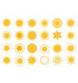 cartoon sun icon flat and hand drawn summer vector image vector image