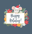 christmas and new year card with cute little mouse vector image vector image