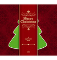 Christmas card with tree behind the stripe vector image vector image