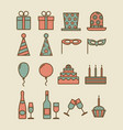 colorful vintage party icons vector image vector image