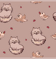 cute seamless background with cat birds and red vector image vector image