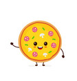 cute smiling funny cute pizza vector image vector image