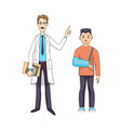 doctor stand with x-ray young sad boy in bandage vector image