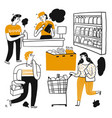 drawing character people in supermarket vector image