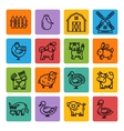 Farm animals black icon set vector image vector image