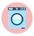 flat blue washing machine icon washer symbol vector image vector image