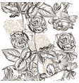 floral seamless pattern roses in engraved style vector image vector image