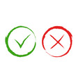 green yes and red no checkmark signs vector image