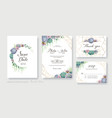greenery succulent wedding invitation card vector image