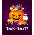 halloween trick or treat party poster flat vector image vector image