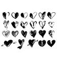 Hand drawn grunge hearts vector image vector image