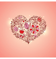 hand drawn pink floral heart vector image vector image