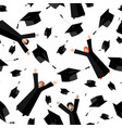 happy graduates flying in the air with graduation vector image