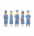 happy graduating students - cartoon people vector image vector image