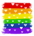 hearts on rainbow watercolour background vector image
